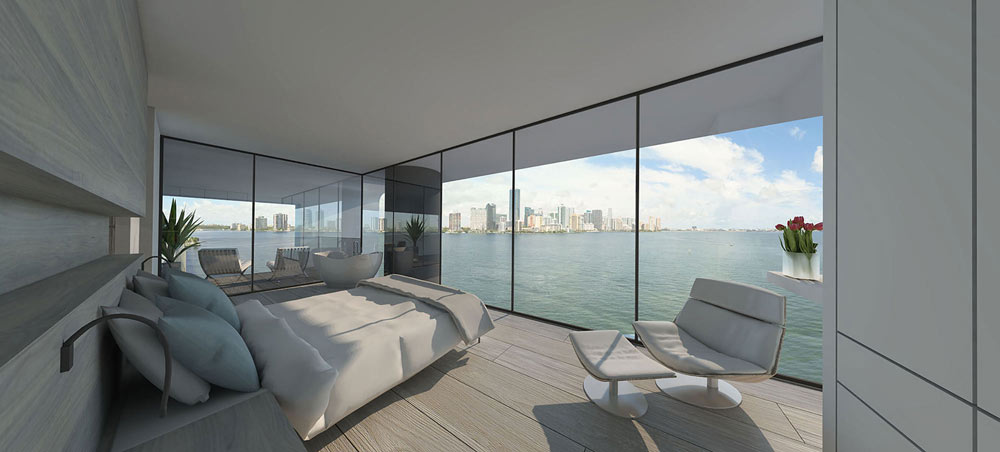 live in the view of the Miami skyline in a floating house