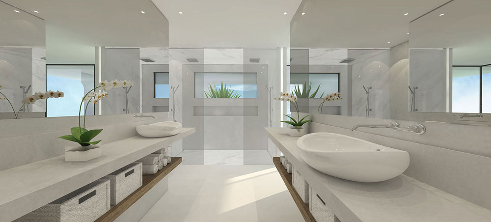 the high-end bathroom of the floating house