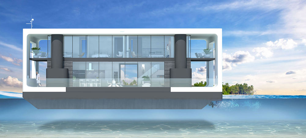 a propelled floating villa in navigation