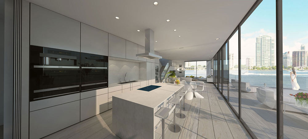 the luxury kitchen of the floating house with direct access to the oversized terrace